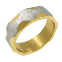 Stainless Steel Finger Ring, plated, brushed & two tone, 6mm, US Ring Size:6, 20PCs/Lot, Sold By Lot