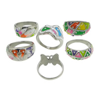 Enamel Stainless Steel Finger Ring with rhinestone   mixed original color 9-22.5mm US Ring Size:7-9 5PCs/Lot