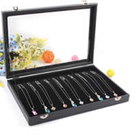 Leather Necklace Box, Cardboard, with PU & Velveteen & Glass, Rectangle, black, 350x240x45mm, 2PCs/Lot, Sold By Lot