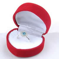 Velveteen Ring Box Wood with Velveteen Heart red 35mm Inner Diameter:Approx 50mm 50PCs/Lot