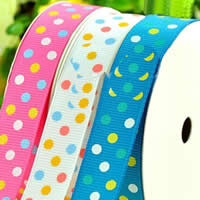 Grosgrain Ribbon, printing, different size for choice & with round spot pattern & single-sided, mixed colors, 2PCs/Bag, 100Yards/PC, Sold By Bag