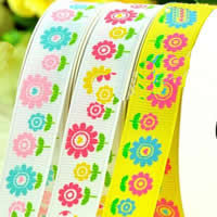 Grosgrain Ribbon, printing, different size for choice & with flower pattern & single-sided, mixed colors, 2PCs/Bag, 100Yards/PC, Sold By Bag