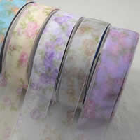 Organza Ribbon, printing, different size for choice & with flower pattern, mixed colors, 2PCs/Bag, 200/PC, Sold By Bag