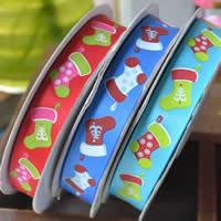 Taśmy świąteczne, Satynowa wstążka, Drukowane, jednostronne, mieszane kolory, 15mm, 4komputery/wiele, sprzedane przez wiele