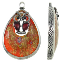 Gold Sand Lampwork Pendants, Zinc Alloy, with Lampwork, Teardrop, antique silver color plated, with millefiori slice & enamel, more colors for choice, lead & cadmium free, 46x76x12mm, Hole:Approx 5x8mm, Sold By PC