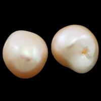 Koraliki z pereł hodowlanych słodkowodnych bez otworu, Perła naturalna słodkowodna, Bryłki, Naturalne, różowy, 12-13mm, sprzedane przez para