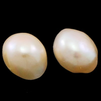 No Hole Cultured Freshwater Pearl Beads, Nuggets, natural, pink, 13mm, Sold By Pair