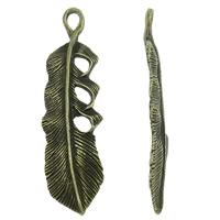 Sinkkiseos Feather riipukset, Sulka, päällystetty, enemmän värejä valinta, lyijy ja sen kadmium vapaa, 13x49x3mm, Reikä:N. 3x5mm, N. 250PC/laukku, Myymät laukku