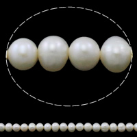 Potato Cultured Freshwater Pearl Beads, natural, white, Grade A, 6-7mm, Hole:Approx 0.8mm, Sold Per 14.5 Inch Strand