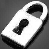 Sinkkiseos Lock riipukset, Lukko, antiikki hopea päällystetty, nikkeli, lyijy ja kadmium vapaa, 7.40x13.80mm, Reikä:N. 3-5mm, 1000PC/erä, Myymät erä