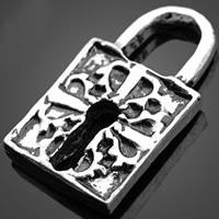 Sinkkiseos Lock riipukset, Lukko, antiikki hopea päällystetty, nikkeli, lyijy ja kadmium vapaa, 14.74x25.60mm, Reikä:N. 3-5mm, 500PC/erä, Myymät erä