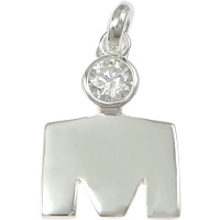 Cubic Zirconia Micro Pave Sterling Silver Pendant, 925 Sterling Silver, Letter M, micro pave cubic zirconia, 13x20x3mm, Hole:Approx 3mm, 5PCs/Lot, Sold By Lot