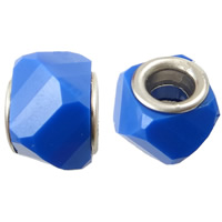 European Resin Beads, brass double core without troll & faceted & solid color, more colors for choice, 14x9mm, Hole:Approx 5mm, 500PCs/Bag, Sold By Bag