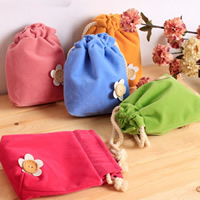 Jewelry Drawstring Bags, Velveteen, with Wood, Rectangle, more colors for choice, 160x140mm, 30PCs/Bag, Sold By Bag