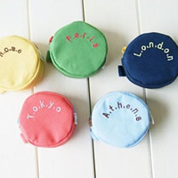 Coin Purse, Canvas, with Zinc Alloy, Flat Round, plated, different designs for choice, nickel, lead & cadmium free, 72x72x40mm, 20PCs/Bag, Sold By Bag