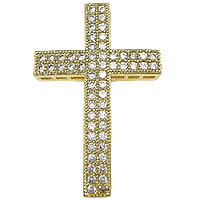 Cubic Zirconia Micro Pave Brass Pendant, Cross, real gold plated, micro pave cubic zirconia, nickel, lead & cadmium free, 21x32x3mm, Hole:Approx 1x2mm, 10PCs/Lot, Sold By Lot