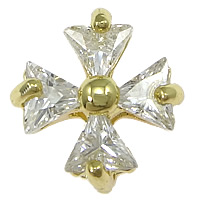 Cubic Zirconia Micro Pave Brass Pendant, Cross, real gold plated, micro pave cubic zirconia, nickel, lead & cadmium free, 13x13.50x6mm, Hole:Approx 0.8mm, 50PCs/Lot, Sold By Lot