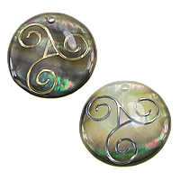 Natural Black Shell Pendants Flat Round different styles for choice   more sizes for choice Hole:Approx 2mm 20PCs/Lot