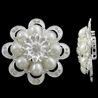 Flower Zinc Alloy Connector with ABS Plastic silver color plated imitation pearl   4-strand   with rhinestone nickel lead   cadmium free 60x17mm Hole:Approx 2mm