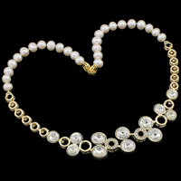 Crystal Freshwater Pearl Necklace, with Crystal, brass foldover clasp, Potato, natural, with rhinestone, white, 8-9mm, 230x24x6mm, Sold Per Approx 18 Inch Strand