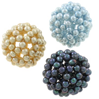 Ball Cluster Cultured Pearl Beads, Freshwater Pearl, Round, mixed colors, 34mm, Hole:Approx 7mm, 5PCs/Bag, Sold By Bag