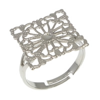 Brass Filigree Ring Base Square platinum color plated adjustable nickel lead   cadmium free 16mm US Ring Size:6.5 200PCs/Lot