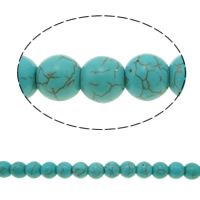 Turquoise Beads, Round, green, 10mm, Hole:Approx 1mm, Approx 40PCs/Strand, Sold Per Approx 14.5 Inch Strand