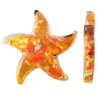 Gold Sand Lampwork Pendants, Starfish, handmade, golden yellow, 30x5mm, Hole:Approx 1mm, 10PCs/Bag, Sold By Bag