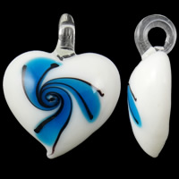 Fashion Lampwork Pendants, Heart, handmade, more colors for choice, 34x42x12mm, Hole:Approx 5mm, 10PCs/Bag, Sold By Bag