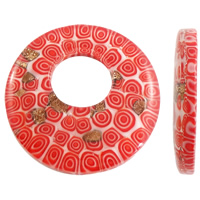 Wisiorek ze szkła ze złotym piaskiem, Lampwork, Płaskie koło, Ręcznie robione, złoty piasek, czerwony, 46x7mm, otwór:około 17mm, 10komputery/torba, sprzedane przez torba