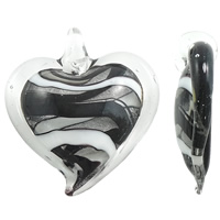 Silver Foil Lampwork Pendants, Heart, handmade, more colors for choice, 44x47x10mm, Hole:Approx 5mm, 10PCs/Bag, Sold By Bag