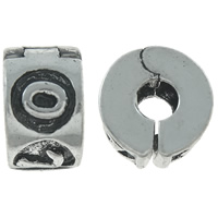Brass European Clip, Rondelle, antique silver color plated, nickel, lead & cadmium free, 10x6mm, Hole:Approx 3mm, Sold By PC