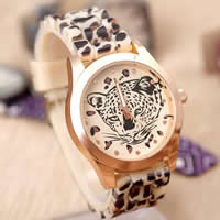 Unisex Wrist Watch, TR90, with zinc alloy dial, Flat Round, gold color plated, leopard pattern, 40x20mm, Length:Approx 9.5 Inch, 10Strands/Lot, Sold By Lot