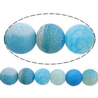 Natuurlijke Effloresce Agaat kralen, Ronde, blauw, 10mm, Gat:Ca 1mm, Lengte:Ca 15 inch, 10strengen/Lot, Verkocht door Lot