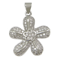 Cubic Zirconia Micro Pave Brass Pendant, Flower, platinum plated, micro pave cubic zirconia, nickel, lead & cadmium free, 20x23x3.50mm, Hole:Approx 3x4mm, 10PCs/Lot, Sold By Lot