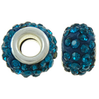 Rhinestone European Beads, Rhinestone Clay Pave, Rondelle, with 52 pcs rhinestone & brass double core without troll, blue, 13x8.5mm, Hole:Approx 5.5mm, 50PCs/Bag, Sold By Bag