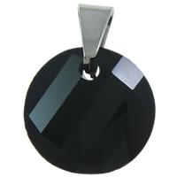 Zawieszki kryształowe, Kryształ, ze mosiądz kaucją, Płaskie koło, fasetowany, jasna czerń, 18x25x7mm, otwór:około 5x6mm, 10komputery/torba, sprzedane przez torba