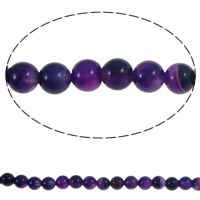 Natural Purple Agate Beads, Round, 6mm, Hole:Approx 1mm, Approx 64PCs/Strand, Sold Per Approx 15.3 Inch Strand