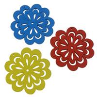 Zawieszki z drewna, Drewno, Kwiat, mieszane kolory, 47.50x50x2.50mm, otwór:około 1mm, 100komputery/torba, sprzedane przez torba