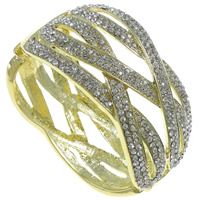 Zinc Alloy Bangle, gold color plated, with rhinestone, nickel, lead & cadmium free, 71x60x35mm, Length:Approx 6 Inch, Sold By PC