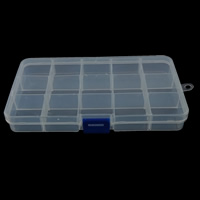 Plastic Beads Container, Rectangle, 15 cells, white, 102x185x22mm, Sold By PC
