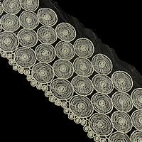 Koronki wstążką, Bawełna, biały, gatunek, 255mm, 15m/wiele, sprzedane przez wiele