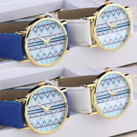 Unisex Wrist Watch, PU, with zinc alloy dial, gold color plated, mixed colors, nickel, lead & cadmium free, 37x7mm, Length:Approx 9 Inch, 10Strands/Lot, Sold By Lot