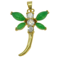 Natural Aventurine Pendants, Brass, with Green Aventurine, Dragonfly, gold color plated, with cubic zirconia, nickel, lead & cadmium free, 22x28x5mm, Hole:Approx 3x4.5mm, Sold By PC
