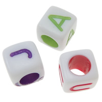Alphabet Acrylic Beads, with letter pattern & mixed, 6x6x6mm, Hole:Approx 3.5mm, Approx 1800PCs/Bag, Sold By Bag