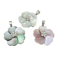Shell Pendants, Brass, with Shell, Flower, platinum color plated, with rhinestone, more colors for choice, nickel, lead & cadmium free, 30x41x8mm, Hole:Approx 4x8mm, 10PCs/Lot, Sold By Lot