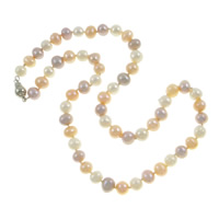 Natural Freshwater Pearl Necklace, brass bayonet clasp, Round, Grade A, 7-8mm, Sold Per 17 Inch Strand