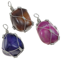 Agate Jewelry Pendants, Mixed Agate, with Iron, Oval, platinum color plated, mixed colors, 25-35mm, Hole:Approx 6mm, 20PCs/Lot, Sold By Lot