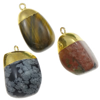 Gemstone Pendants Jewelry, with Iron, gold color plated, mixed, 18-26mm, Hole:Approx 2mm, 20PCs/Lot, Sold By Lot