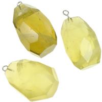 Koraliki kwarc żółty Wisiorek, ze żelazo, Owal, Naturalne, Listopada Birthstone, 20-26mm, otwór:około 2mm, 10komputery/wiele, sprzedane przez wiele